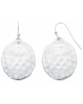 Liz Claiborne Silver-Tone Hammered Oval Drop Earrings, One Size , Silver