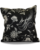 18 x 18-inch, Traditional Bird Floral, Floral Holiday Print Pillow (Red)