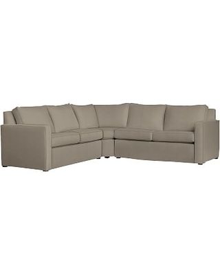 Cameron Square Arm Slipcovered 3-Piece L-Shaped Wedge Sectional, Polyester Wrapped Cushions, Performance Everydayvelvet(TM) Carbon
