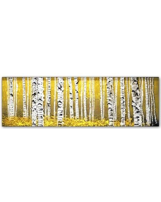 """Trademark Fine Art 'PanorAspens Yellow Floor' Painting Print on Wrapped Canvas RS1020-C Size: 6"""" H x 19"""" W x 2"""" D"""