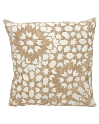 Modern Gleaming Stars Couture Luster Pillow, Ivory/Beige