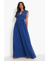 Womens Lace Detail Wrap Pleated Maxi Dress - Navy - 6