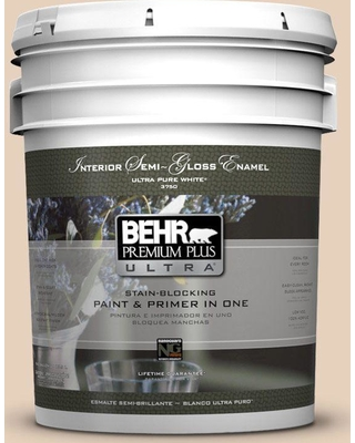 BEHR Premium Plus Ultra 5 gal. #ecc-53-1 Mown Hay Semi-Gloss Enamel Interior Paint and Primer in One, Beige/Ivory