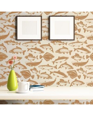 breakwater bay luis fish nautical removable peel and stick wallpaper panel x112947700 size 24 w x 48 l