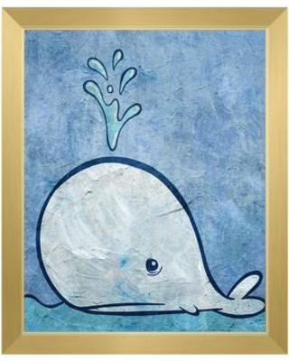 """Click Wall Art 'Thar She Blows' Framed Painting Print URB0000333FRM Size: 16.5"""" H x 13.5"""" W Format: Gold Framed"""