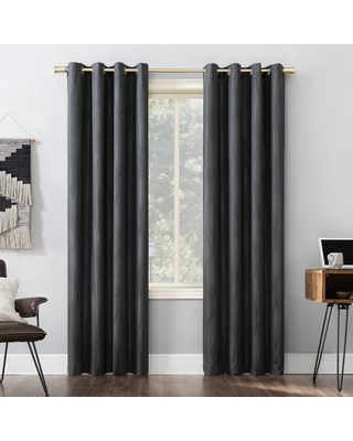"""96""""x52"""" Beck Geometric Ogee Thermal Extreme Blackout Grommet Top Curtain Panel Black - Sun Zero"""