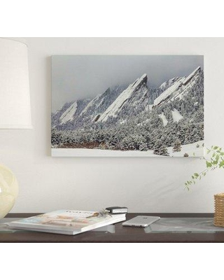 """East Urban Home 'Snow On The Flatirons' By Bill Sherrell Graphic Art Print on Wrapped Canvas EUME6956 Size: 8"""" H x 12"""" W x 0.75"""" D"""