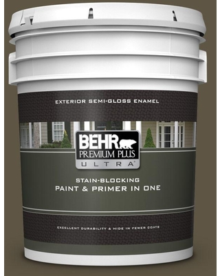 BEHR ULTRA 5 gal. #QE-32 Treemoss Semi-Gloss Enamel Exterior Paint and Primer in One