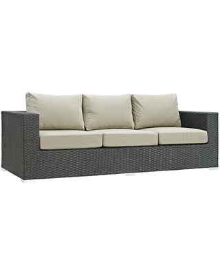 "Sojourn Collection EEI-1860-CHC-BEI 88"" Outdoor Patio Sunbrella Sofa with Powder Coated Aluminum Frame Synthetic Rattan Weave and Fabric Cushions in"