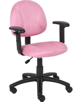 Microfiber Deluxe Posture Chair with Adjustable Arms Pink - Boss Office Products