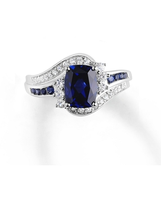Lab-Created Sapphire Ring Blue & White Sterling Silver