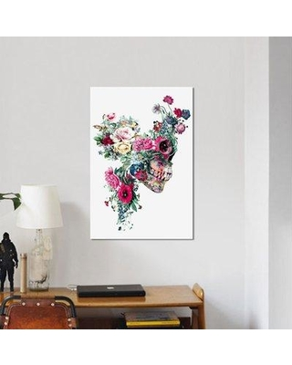 """East Urban Home Floral Skull Series 'VII' Graphic Art Print on Canvas URBH7188 Size: 40"""" H x 26"""" W x 0.75"""" D"""
