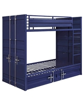Benjara Industrial Style Twin Size Bunk Bed with Recessed Panel Design, Blue