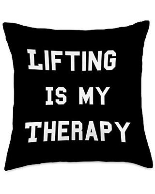 Bodybuilder Gym Therapy Apparel Co Funny Lifting is my Therapy Powerlifter Workout Gym Throw Pillow, 18x18, Multicolor