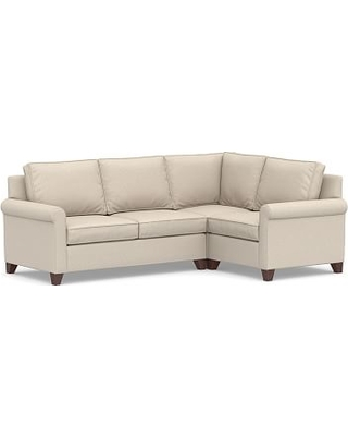 Cameron Roll Arm Upholstered Left Arm 3-Piece Corner Sectional, Polyester Wrapped Cushions, Textured Twill Khaki