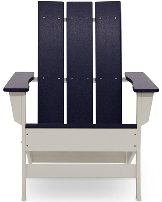 DUROGREEN Aria White with Navy Blue Recycled Plastic Adirondack Chair