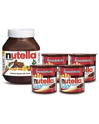 Nutella and Nutella and Go Bundle, 4 Count Chocolate Hazelnut Spread Snack Packs with Breadsticks and 35.3 oz Bulk Nutella Jar, Perfect for Christmas Breakfast and Kids' Stocking Stuffers