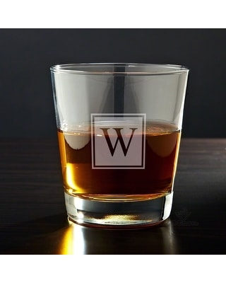Block Monogram Personalized Whiskey Glass (initial - a)