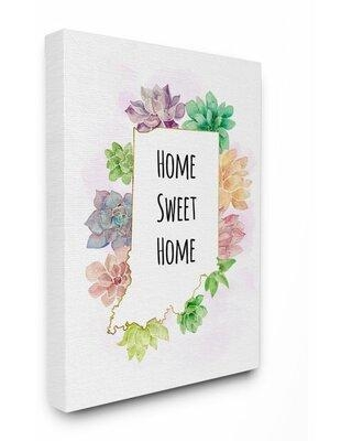 "Gracie Oaks 'Indiana State Home Sweet Home Succulent Watercolor Vignette' by Ziwei Li Painting Print X113580879 Format: Wrapped Canvas Size: 30"" H x 24"" W x 1.5"" D"