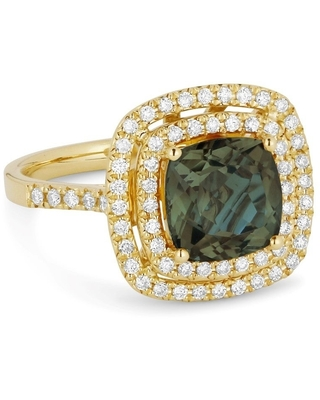14k Yellow Gold Ring with 2.58ct Cushion Green Spinel and 0.45ct Round White Diamonds Size - 6.5