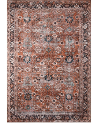 New Savings On Rust Distressed Persian Style Savannah Area Rug Polyester 5 X 8 By World Market