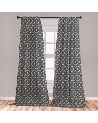 Ambesonne Doodle 2 Panel Curtain Set, Ornamental Scribble Spots Hand Drawn Style Little Spots Spirals Abstract, Lightweight Window Treatment Living Ro