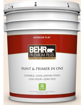 BEHR Premium Plus 5 gal. #PPU3-04 Ballet White Flat Low Odor Interior Paint and Primer in One