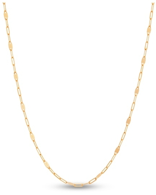 """Jared The Galleria Of Jewelry Italia D'Oro Paperclip Station Necklace 14K Yellow Gold 18"""""""