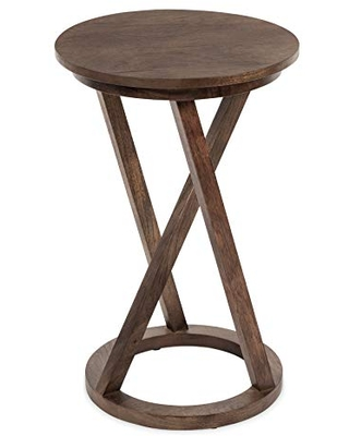 """Kate and Laurel Aja Modern Wood Accent Table, 15"""" x 15"""" x 23"""", Brown, Contemporary End Table for Serving, Storage, and Decor"""