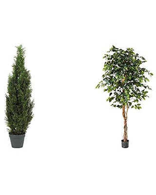 """Nearly Natural 5172 4ft. Cedar Tree Silk Tree (Indoor/Outdoor),Green,49.5"""" x 9"""" x 9"""" & Natural 6ft. Ficus Artificial Trees, 72in, Green"""