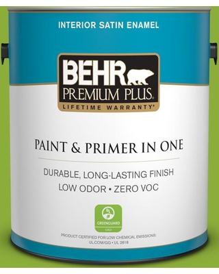 BEHR Premium Plus 1 gal. #420B-6 New Green Satin Enamel Low Odor Interior Paint and Primer in One