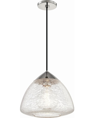 Mitzi by Hudson Valley Lighting Maya 1-Light 12 in. W Polished Nickel Pendant with Clear Crackle Glass Shade