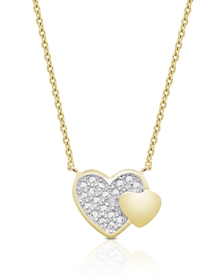 Finesque Gold over Sterling Silver Diamond Accent Heart Necklace (Heart Necklace)