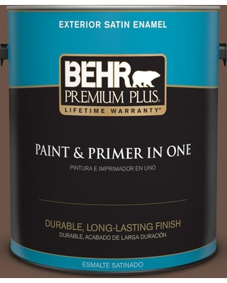 BEHR Premium Plus 1 gal. #MQ2-05A Authentic Brown Satin Enamel Exterior Paint and Primer in One