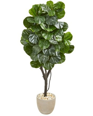 Nearly Natural 67in. Fiddle Leaf Fig Artificial Tree in Sand Stone Planter, Green