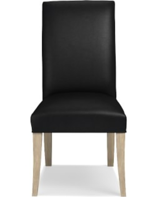 Belvedere Dining Side Chair, Tuscan Leather, Black, Heritage Grey Leg