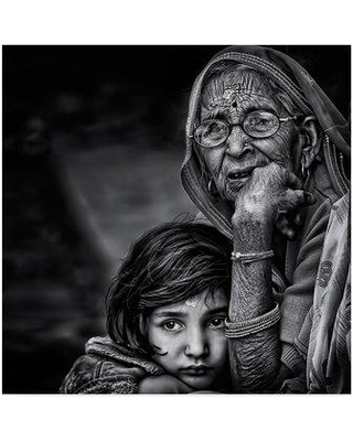 """Trademark Fine Art 'Grandmother' Photographic Print on Wrapped Canvas 1X05206-CGG Size: 24"""" H x 24"""" W x 2"""" D"""