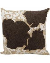 Mina Victory 20'' x 20'' Floral Throw Pillow, Brown