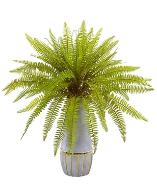 """18"""" Fern Grass Artificial Arrangement in Stoneware Planter By Nearly Natural   Michaels®"""