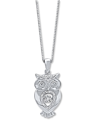 Jared The Galleria Of Jewelry Diamonds in Rhythm 1/20 ct tw Necklace Sterling Silver Owl