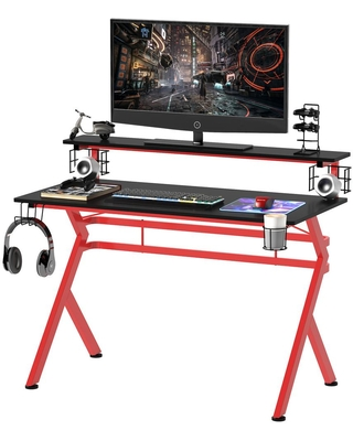 HomCom 47.25 in. Black/Red Computer Desk with Headphone Hook and Controller Rack