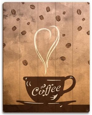 Find Deals On Click Wall Art Wood Slats Cup Of Coffee Painting Print On Plaque Wood In Brown White Size 30 H X 20 W X 1 D Wayfair Cof0000016plk20x30xxx