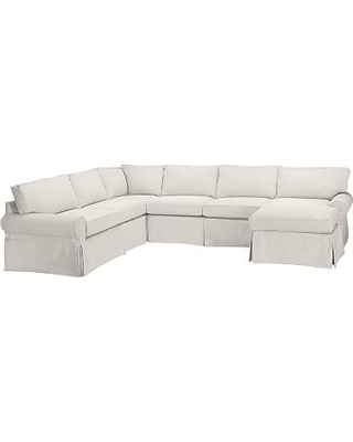 PB Basic Slipcovered Left Arm Sofa with Chaise Sectional, Down Blend Wrapped Cushions, Performance Heathered Tweed Ivory