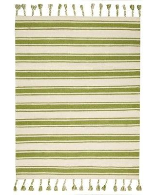 """Mercury Row Welling Striped Hand Braided Wool Ivory/Green Area Rug X111446802 Rug Size: Rectangle 5' x 7'6"""""""