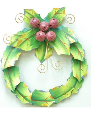 AttractionDesignHome Holiday Holly Leaves Metal Wreath HM1303