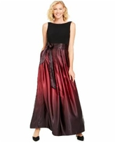 Sl Fashions Ombre Satin Bow Sash Gown - Black/Fig Red