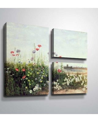 "August Grove 'Bank of Summer Flowers' Acrylic Painting Print Multi-Piece Image on Canvas BF187943 Format: Flag Wrapped Canvas Size: 36"" H x 48"" W x 2"" D"