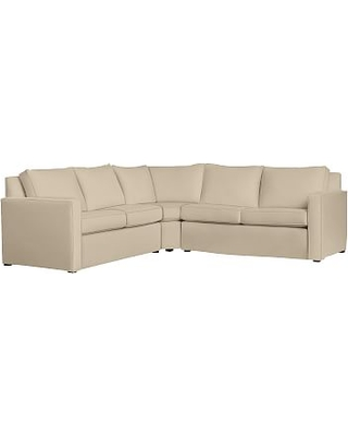 Cameron SQ Arm Slipcovered 3-Piece L-Shaped Wedge Sectional, Polyester Wrapped Cushions, Performance Everydayvelvet(TM) Buckwheat