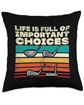 BoredKoalas Golf Pillows Golfer Men Dad Gifts Life Full Important Choices Clubs Funny Golfing Golfer Throw Pillow, 18x18, Multicolor
