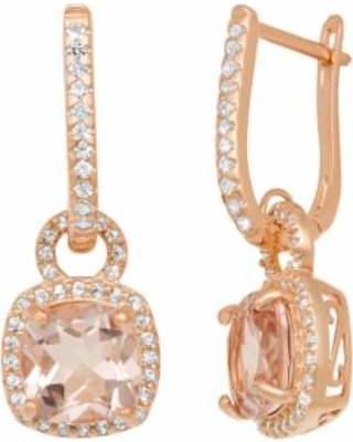 14k Rose Gold Over Silver Simulated Morganite and Lab-Created White Sapphire Square Halo Drop Earrings, Women's, Pink